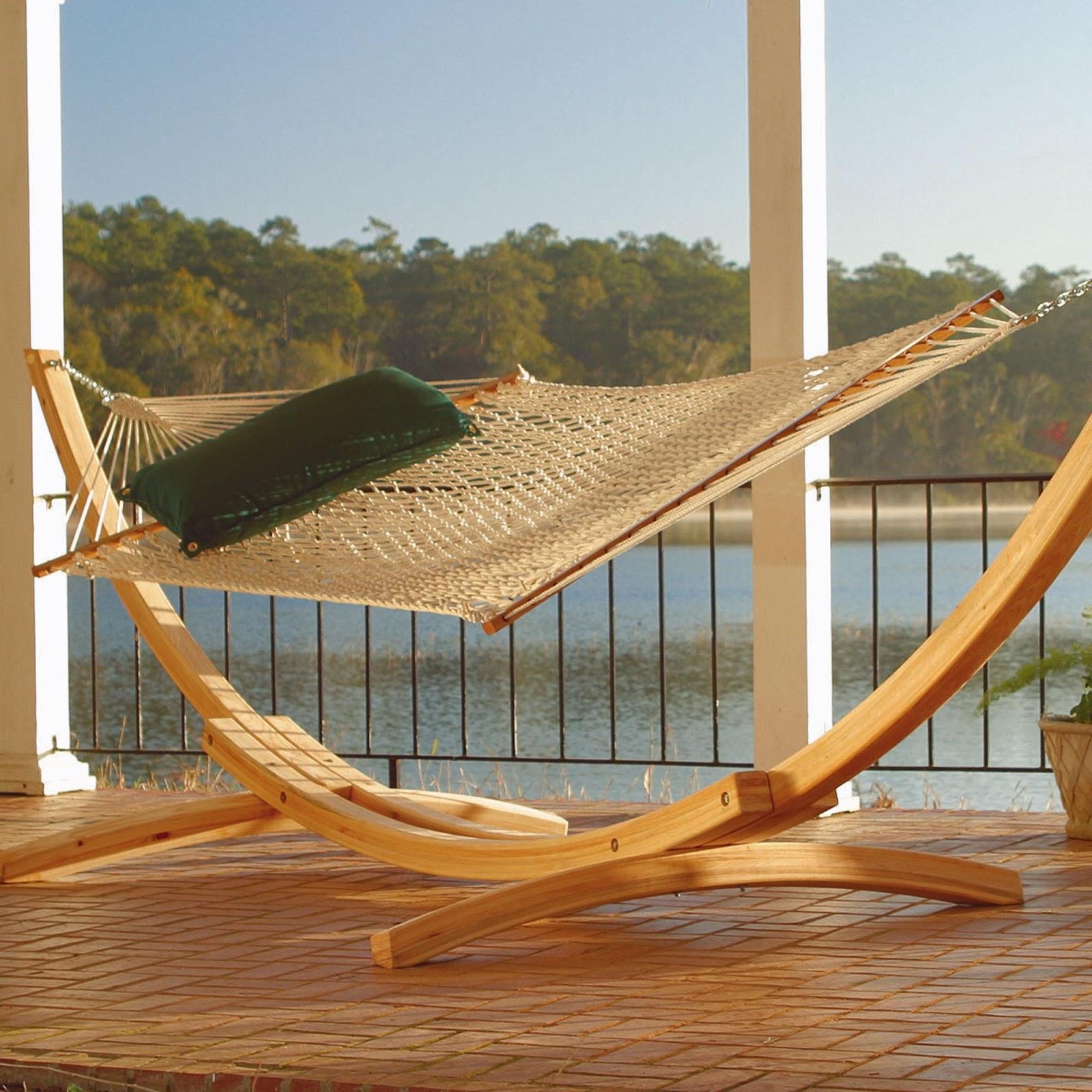 Cypress hammock stand on a deck