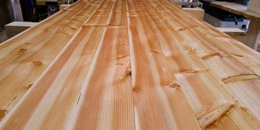 Close-up of long douglas fir planks