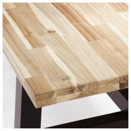 Close-up of Acacia wood table top
