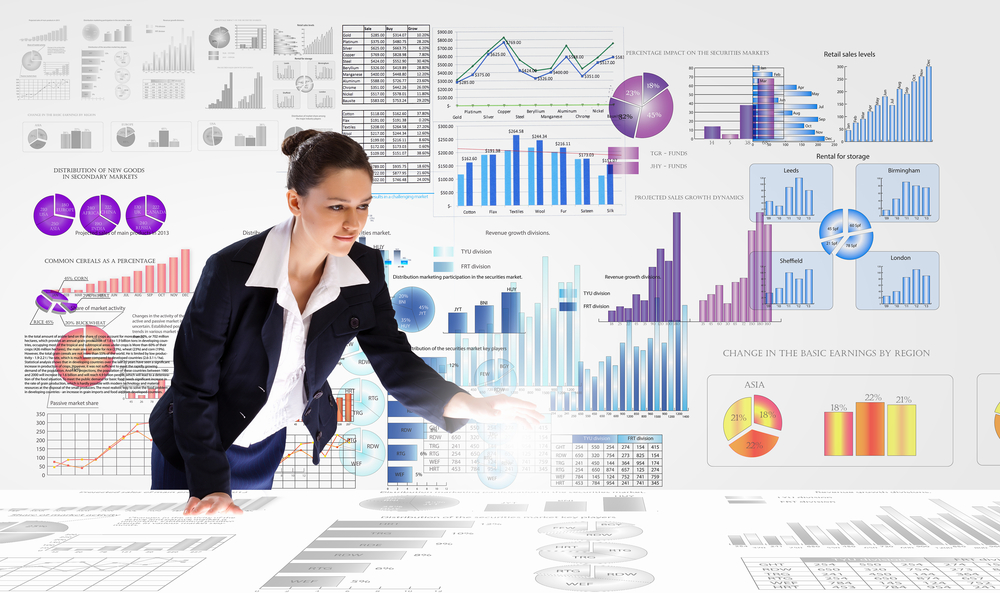 Young businesswoman analyzing data information of market