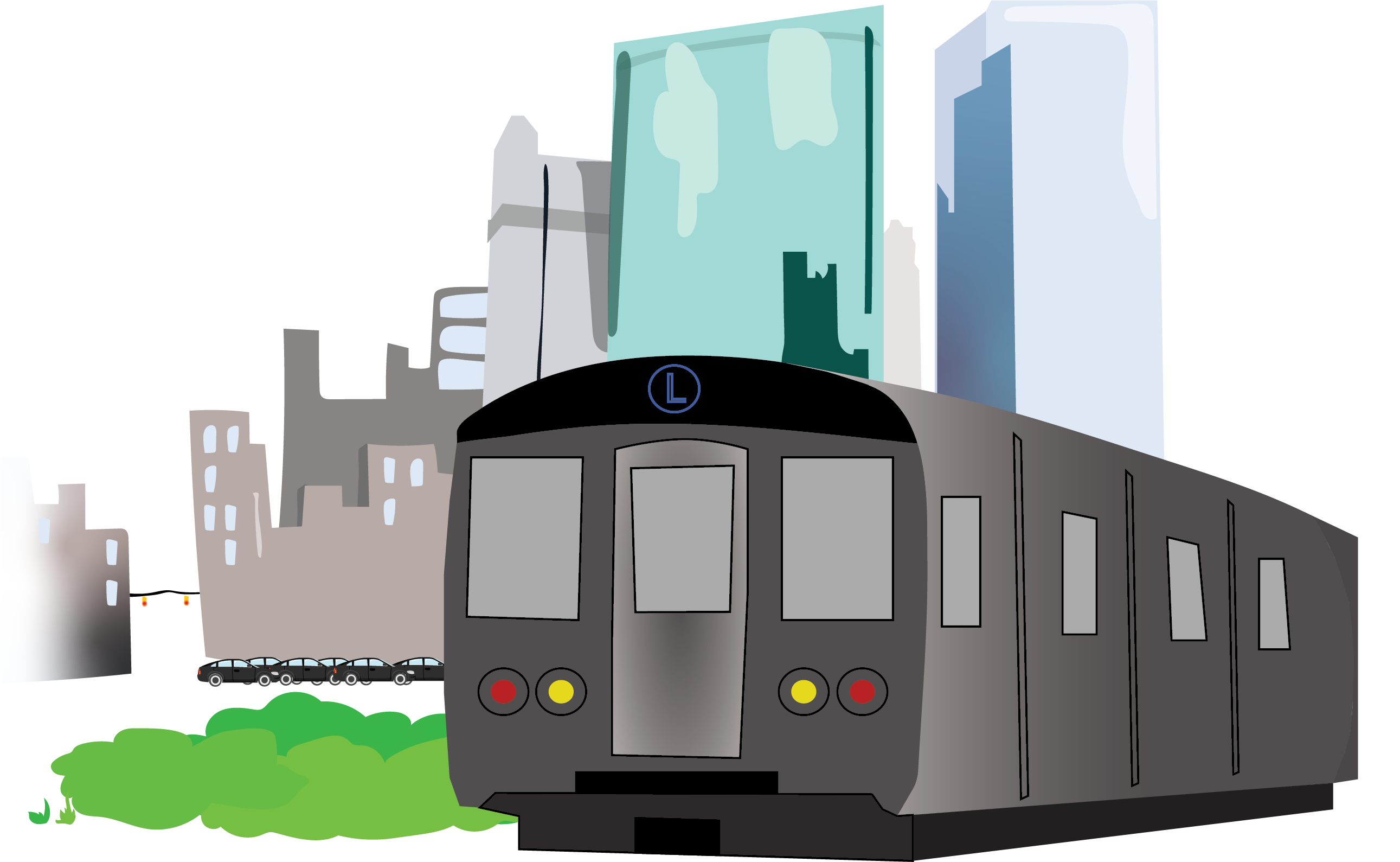 illustration representing public transit in San Francisco