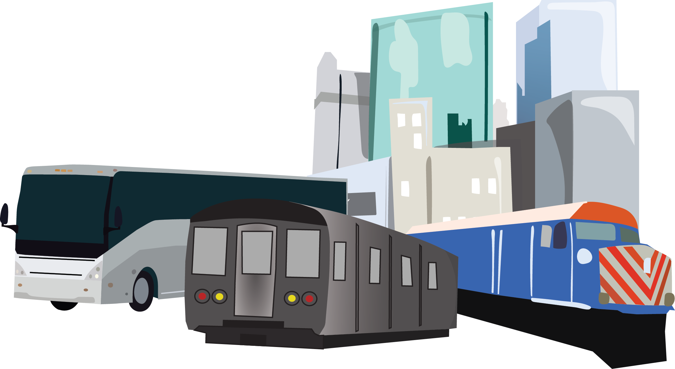 Illustration representing public transit in Greater Boston