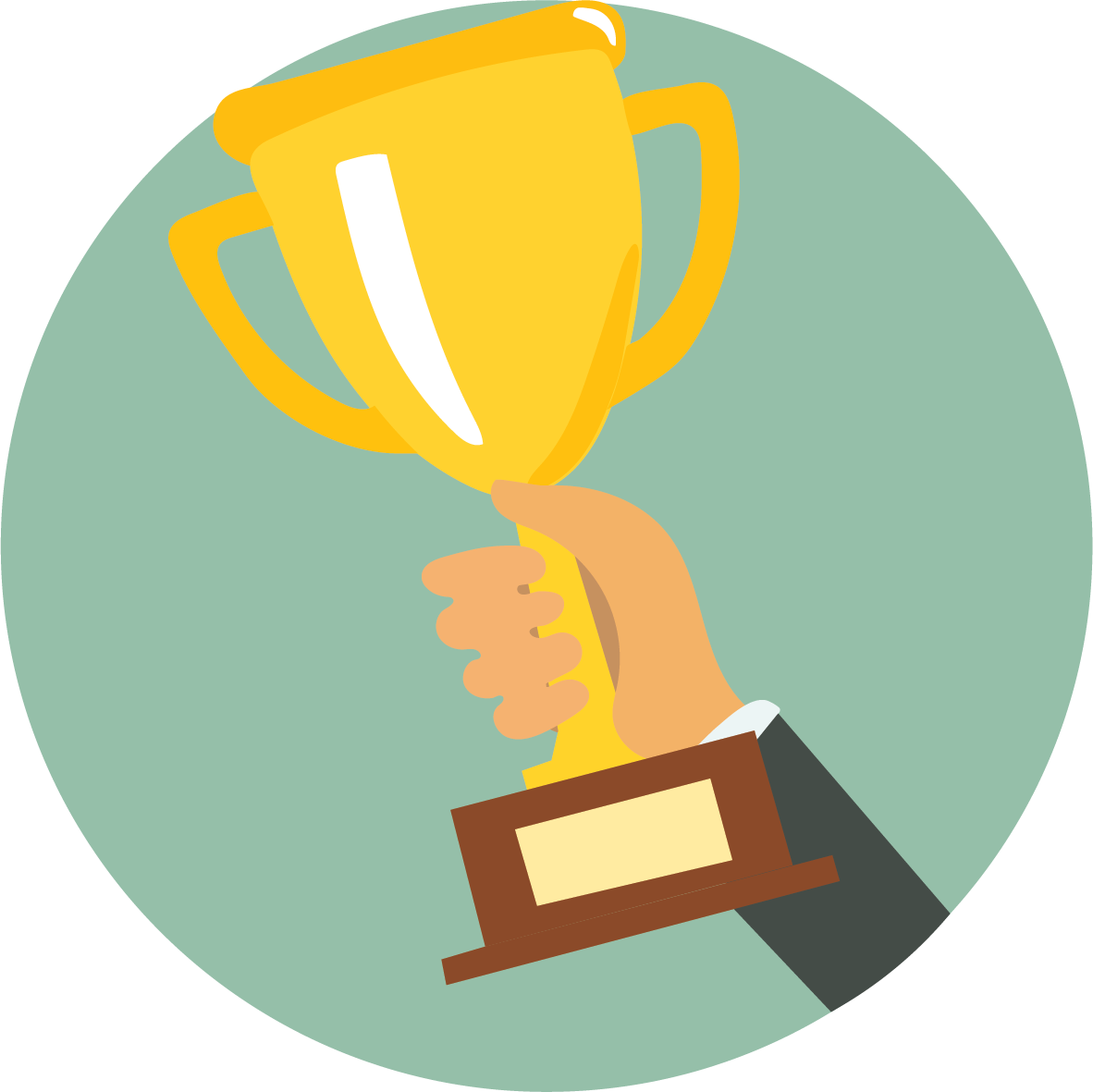 trophy in circle