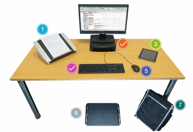 Examples of workstation accessories to improve how safely we work