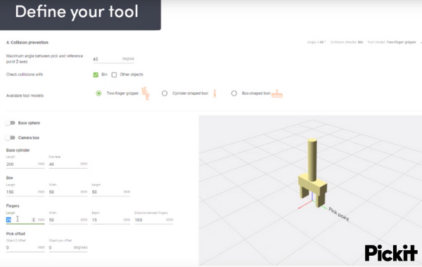 Check Robot collision with the bin and other objects by modelling your tool
