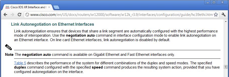IOS XR Ethernet Link Negotiation