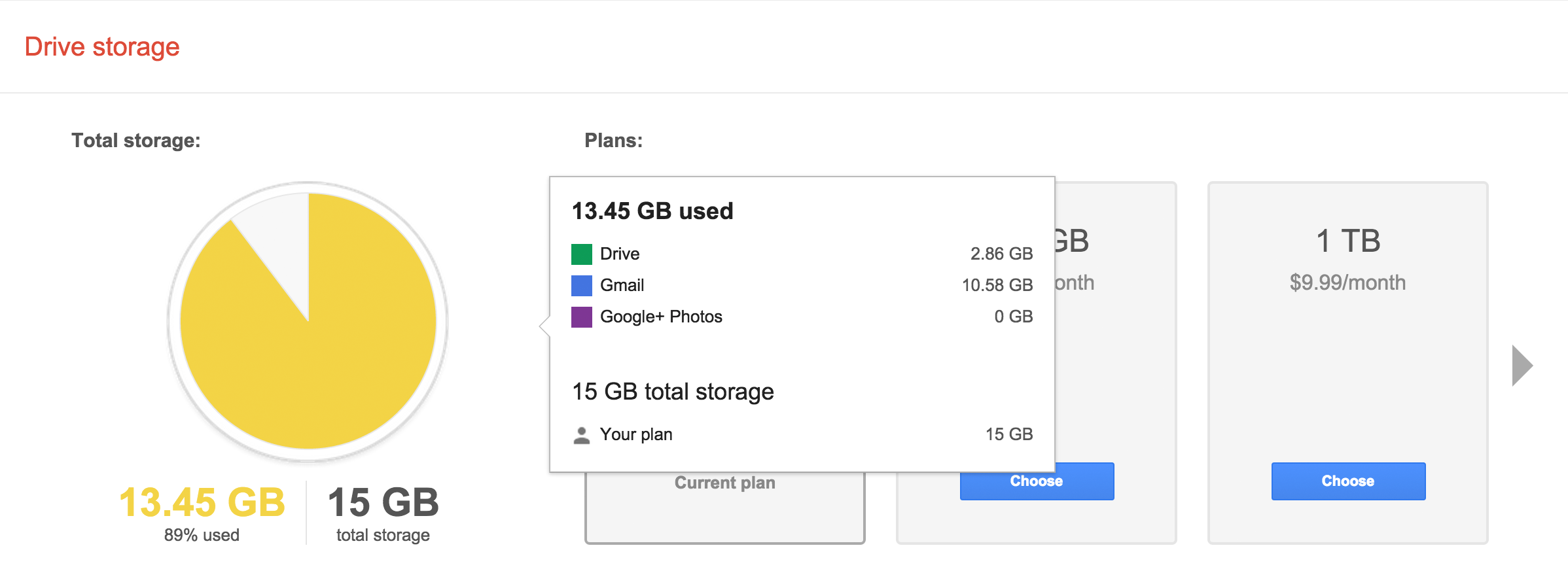 Google Drive storage use sorted by application