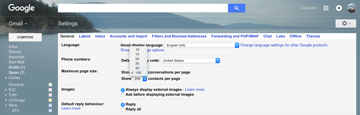 Gmail settings: Changing number of emails displayed