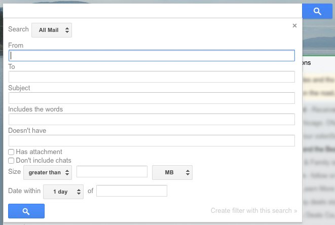 Gmail inbox search options
