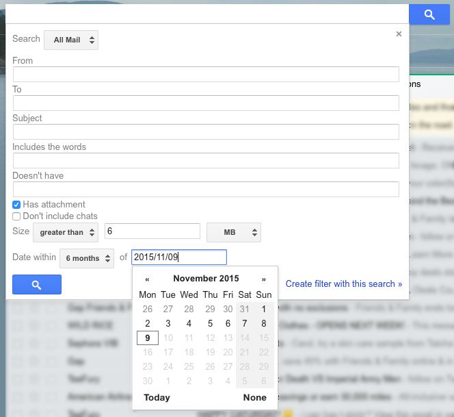 Completed Gmail inbox search form