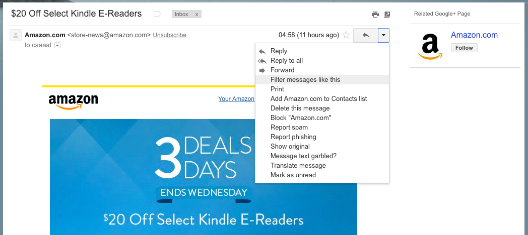 Filtering messages from one sender in Gmail inbox