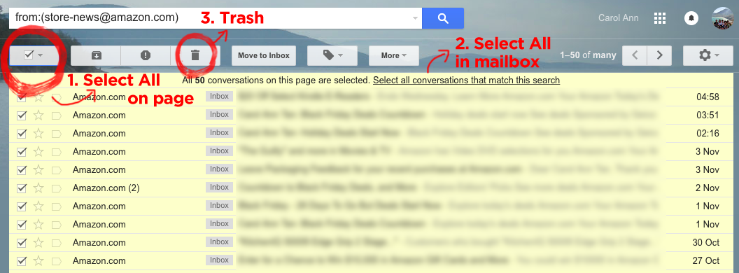 Deleting all conversations matching search in Gmail inbox