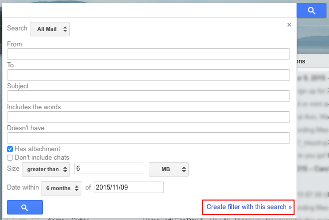 Creating filter in Gmail inbox using search