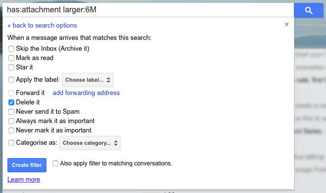 Determining action to take with search filter