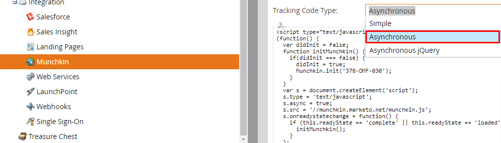 Add Munchkin Tracking Code to Your Website: Step3 Select Asynchronous for Tracking Code Type