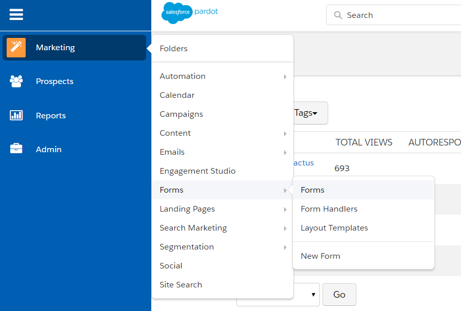 Create A form in pardot