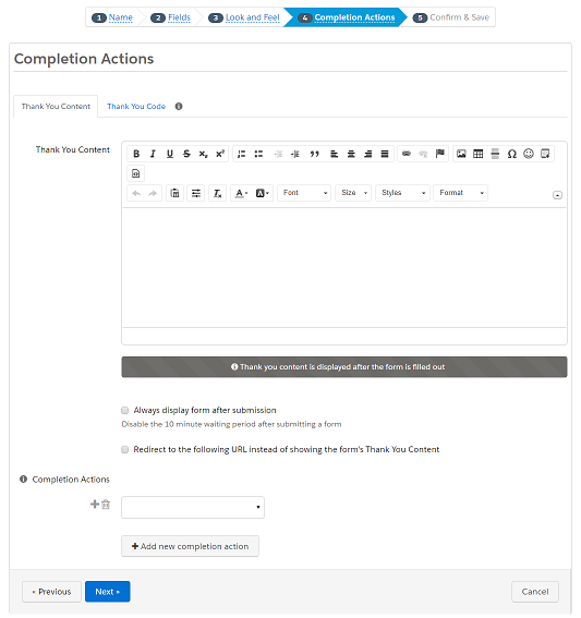Create a form in Pardot - Compete Action