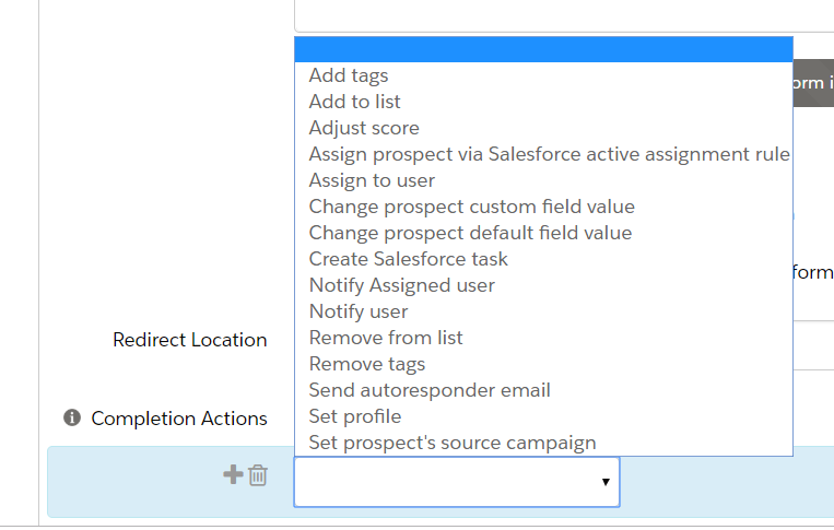 Create a form in Pardot - Redirection Location 1