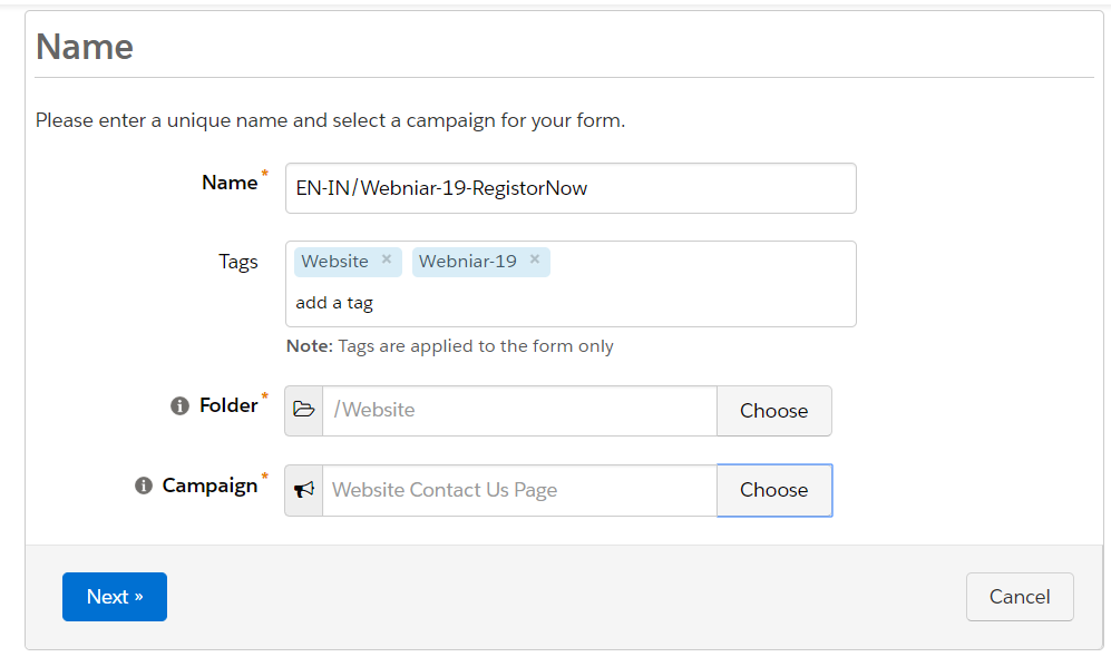 Create a Name in Pardot Form
