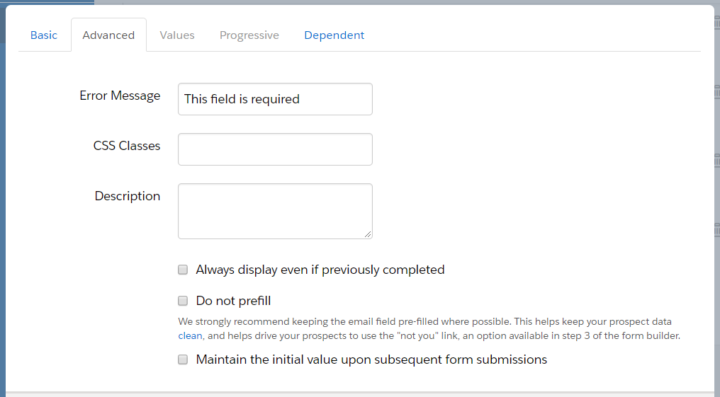 Create a Field in Pardot - Advanced Tab Function
