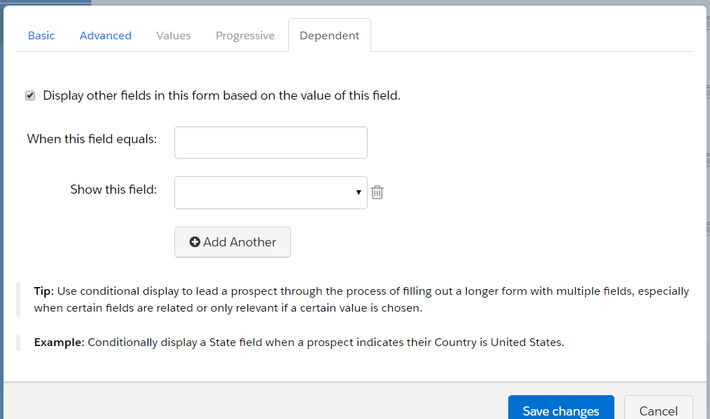 Create a Field in Pardot - Dependent Tab Function
