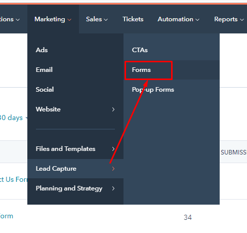 Create form in Hubspot: Step 1