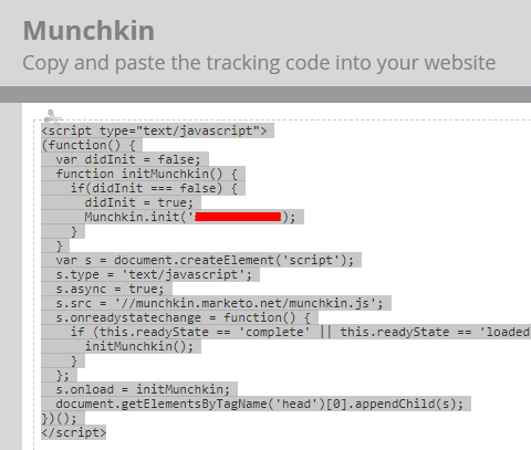 Add Munchkin Tracking Code to Your Website: Step4 Click and copy the Javascript tracking code to put on your website