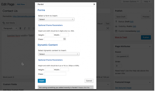 Pardot Integration on Wordpress Website - Step 3