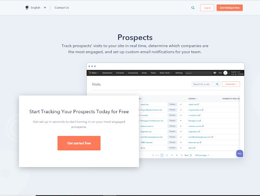HubSpot Prospects Feature for Tracking Visits
