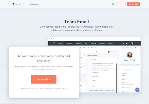 HubSpot: Answer Shared Emails More Quckly and Effciently - Team Email