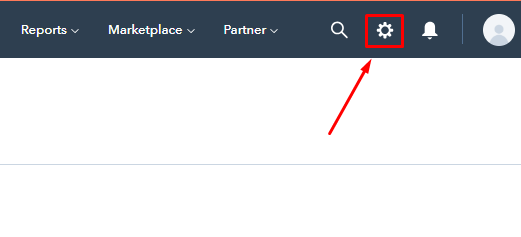 Step 1 to copy the tracking code in your HubSpot account - Go to setting menu