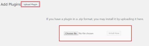 Step 2 to install the plugin in wordpress by zip file