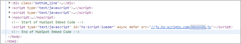Step 4: paste the tracking code you copied just before the closing </body> tag in the HTML code