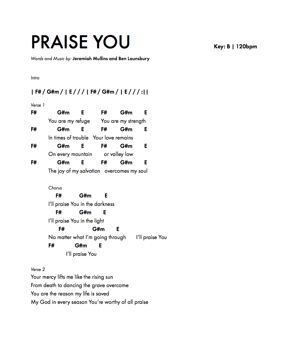 Fun new song chord charts praise you by jeremiah mullins dym blog justinknowles3 hexwebz Image collections