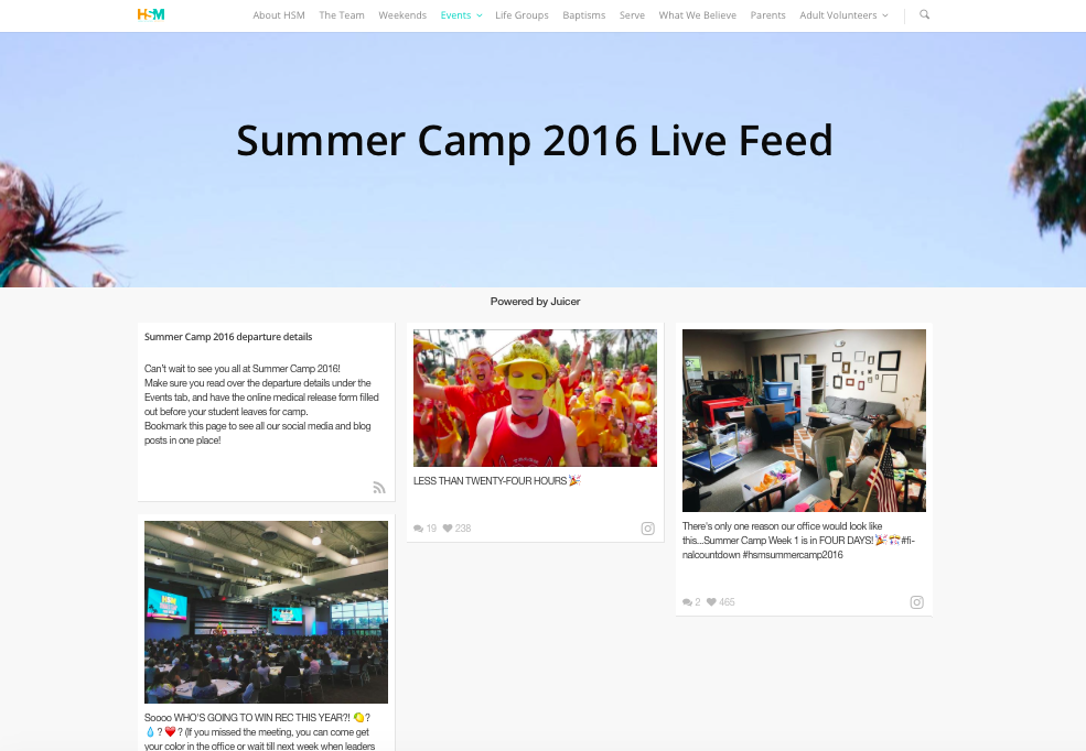 HSM Summer Camp 2016 Live Feed