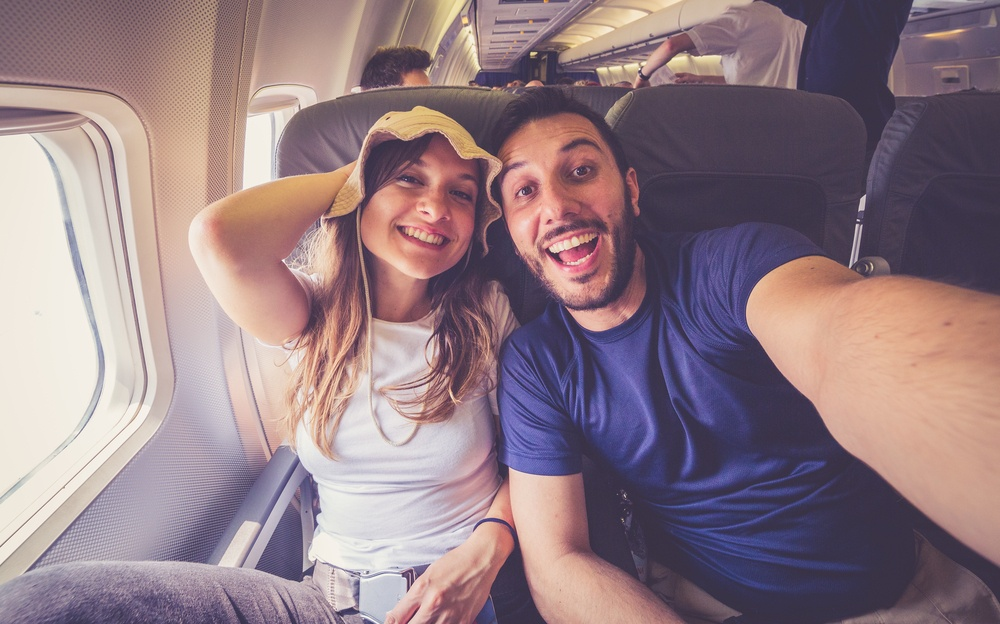 couple selfie on the airplane