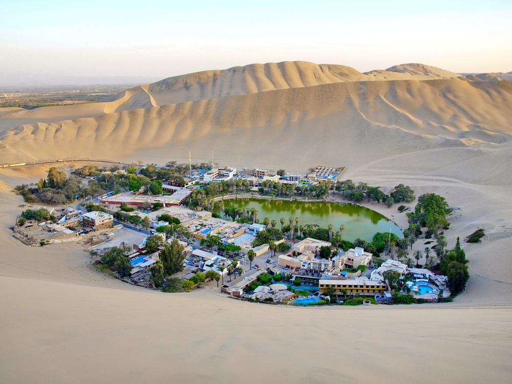 oasis town in the middle of the desert