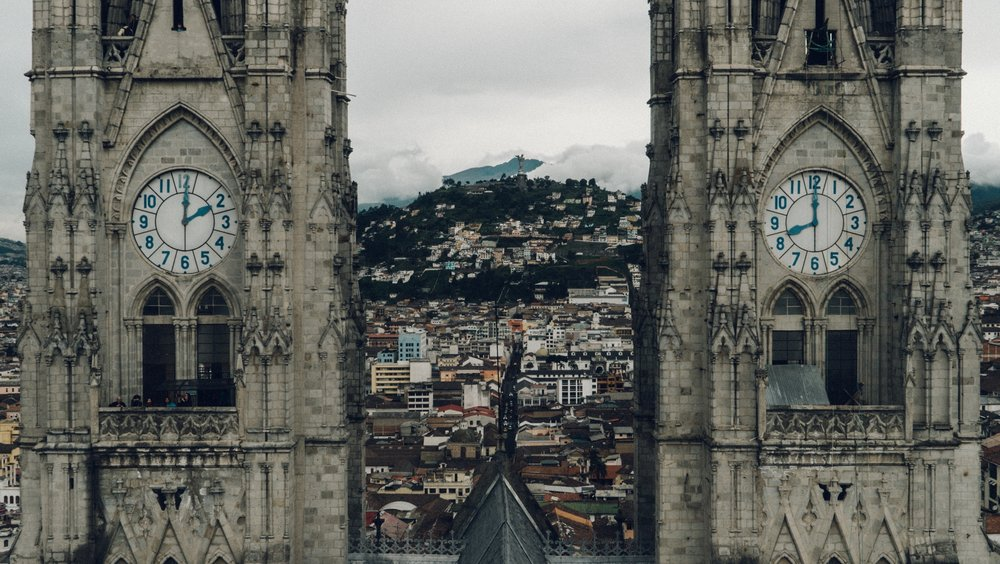 quito's two clock towers in ecuador