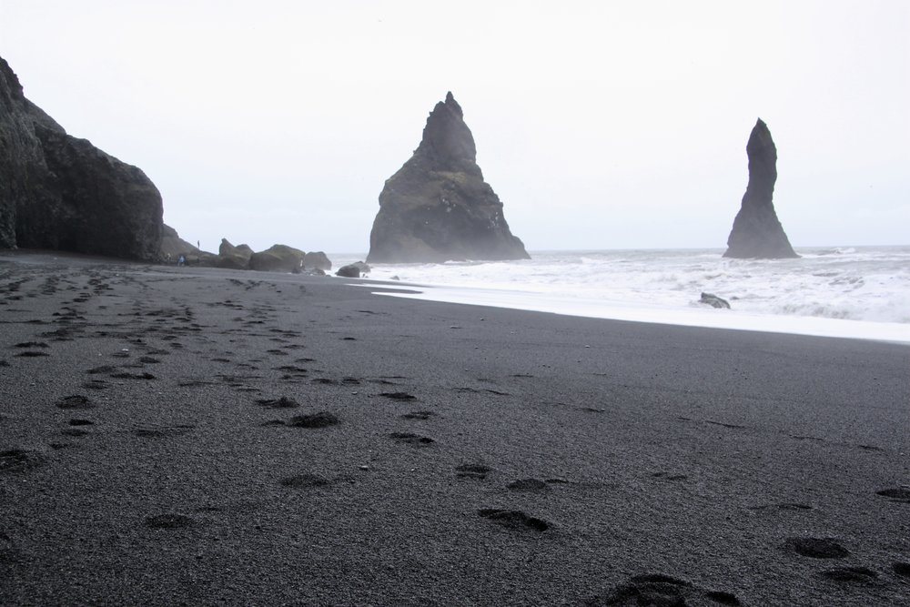 Iceland beach black sand rock