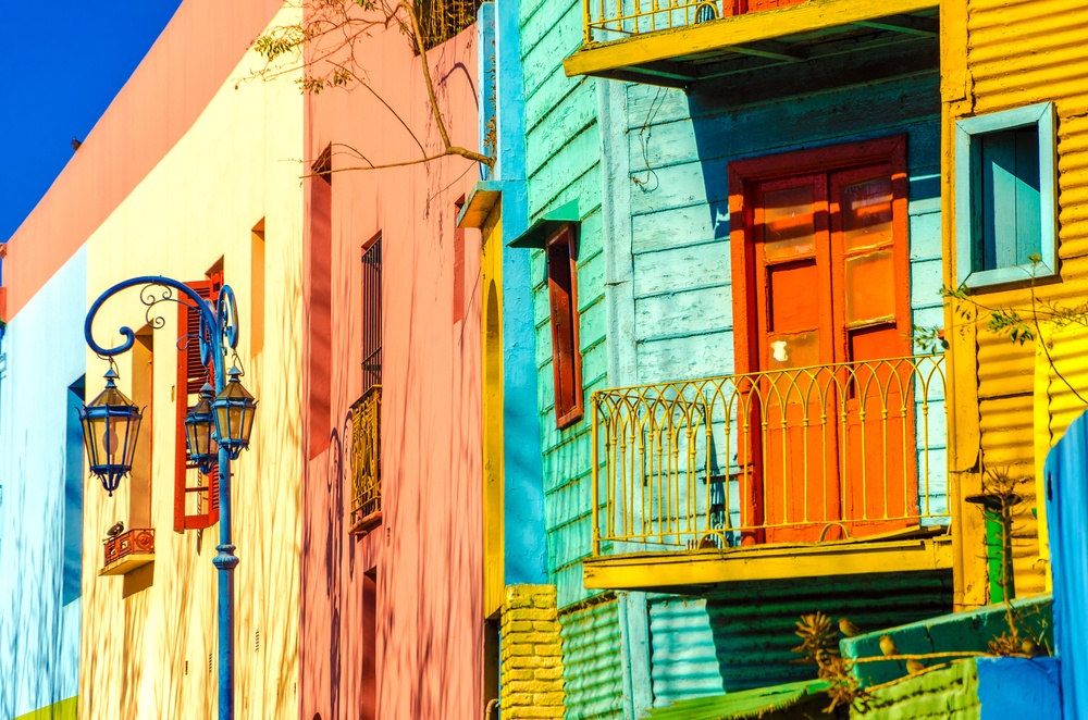 colorful houses on the streets of Buenos Aires, Argentina