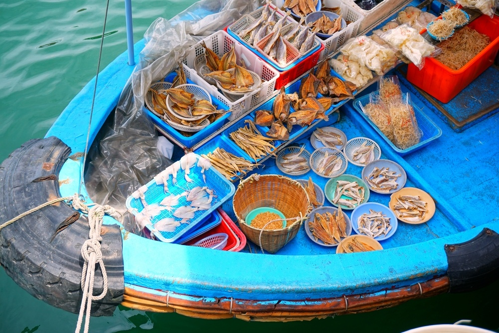 seafood laid out on a boat for Sai Kung