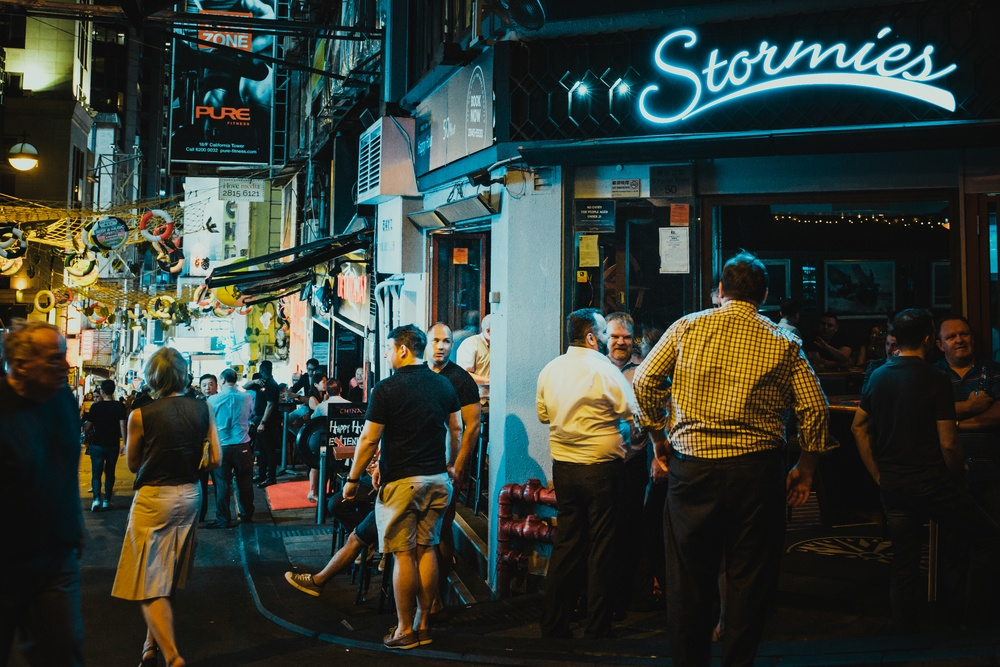 people out and about on the streets of Lan Kwai Fong