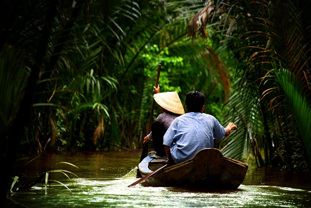 Canoeing through the Mekong Delta