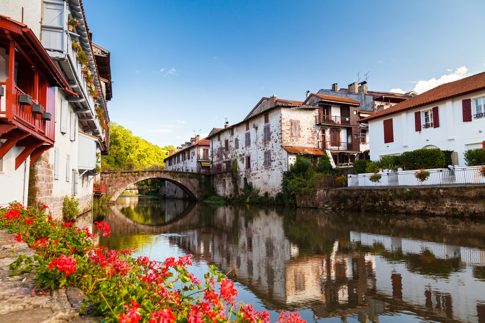 picturesque canal in the french basque country