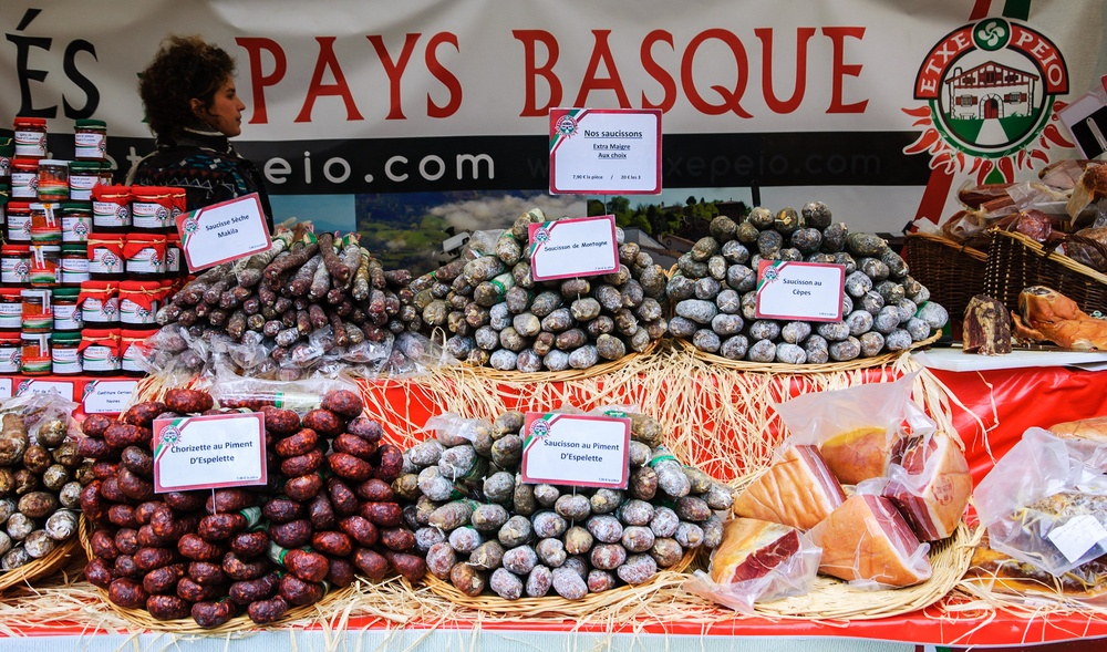 local market in the french basque country with traditional food