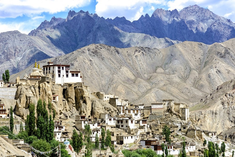 village in Ladakh India with backdrop of mountains