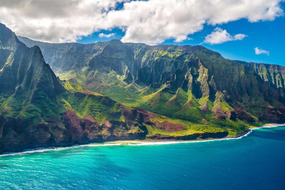 beautiful mountains by the ocean on the island of Kauai in Hawaii