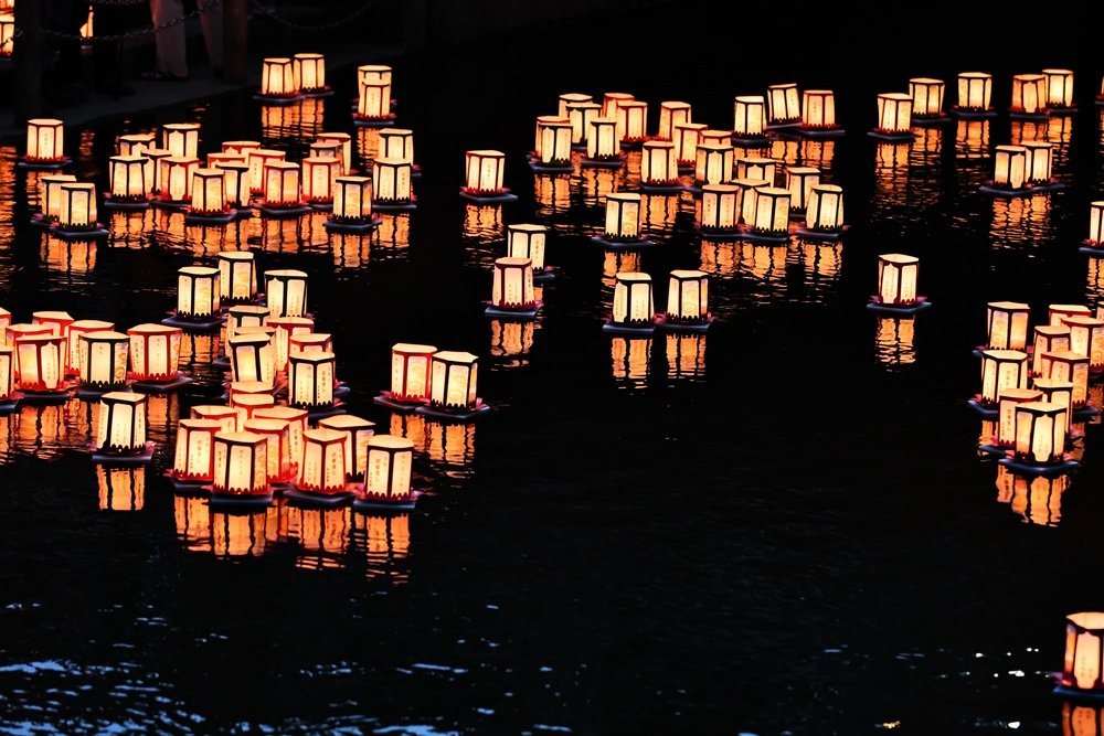 nights floating at night for the bon festival in japan