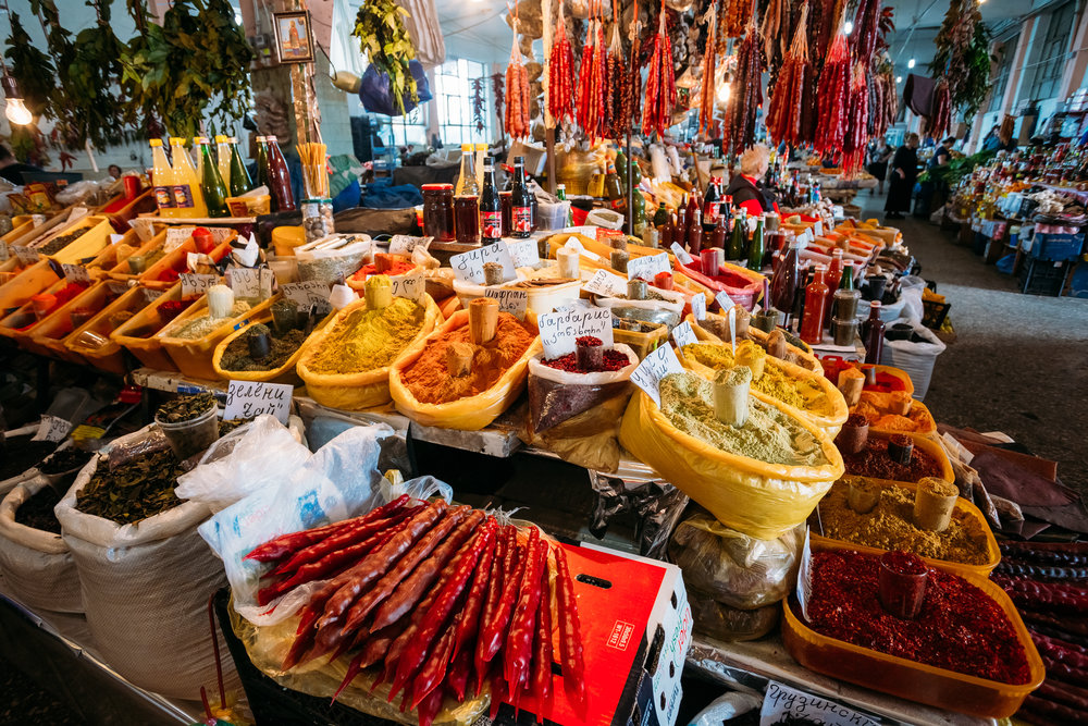 Georgia market showcasing traditional food