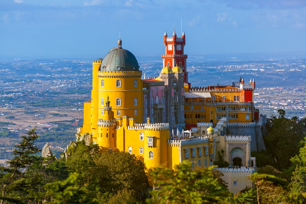 beautiful view of Sintra's colorful castles in Lisbon, Portugal